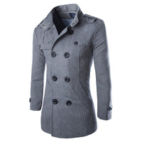 Men's British Style Woolen Trench Coat