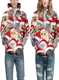 Christmas Casual Cats Printed Couple Hoodies
