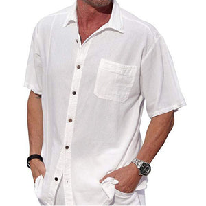 Solid Stand Collar Shirts Men's Casual Shorts Sleeve Shirt