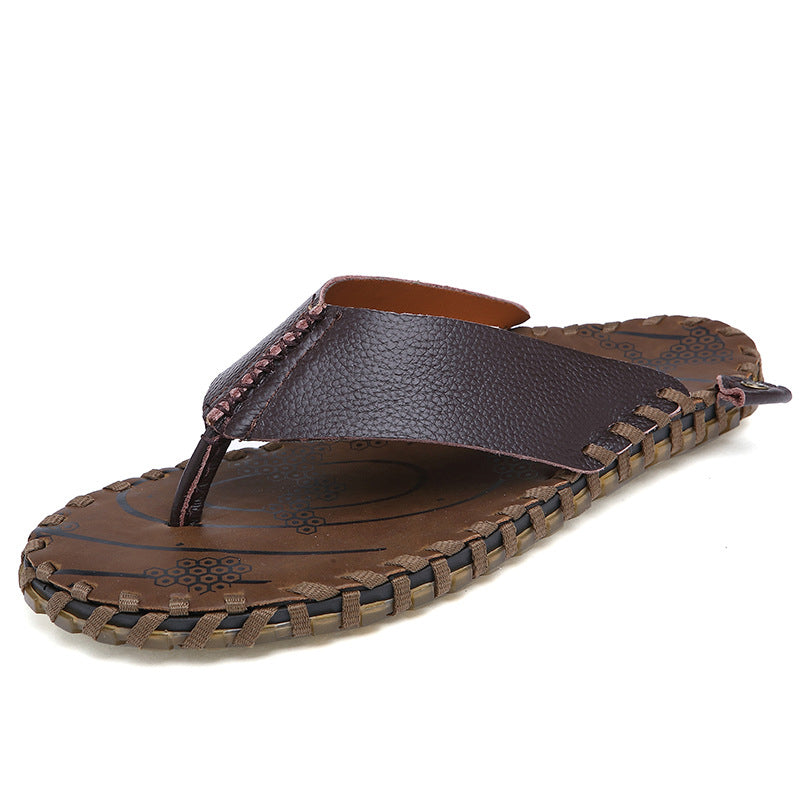 Men's Leather Handmade Leisure Sandals Slippers