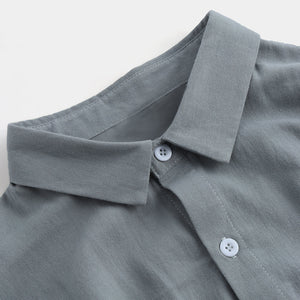 Plus Sizes M-4XL Men's Casual Solid Color Cotton Linen Long Sleeve Shirts