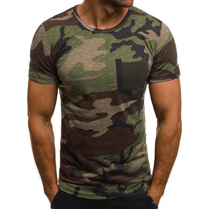 Casual Camouflage Print T-shirts Men's Crew Neck Short Sleeve Tees
