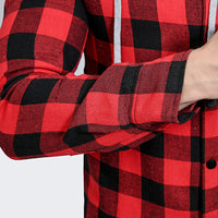 Men's Casual Plaid Hooded Sweatshirt