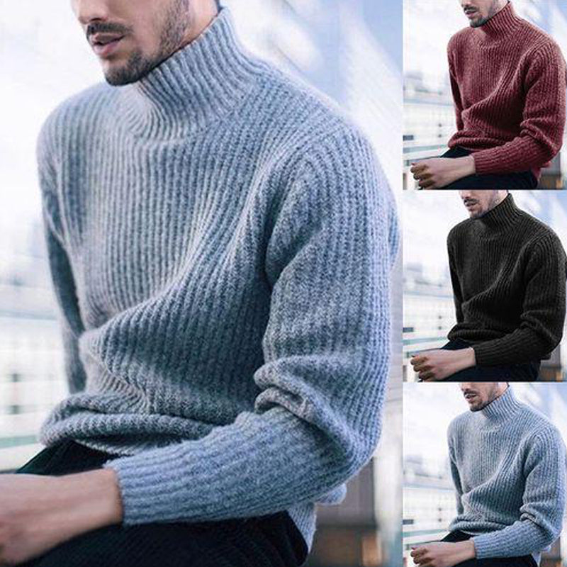 Men's High Collar Warm Bottoming Pullover Sweater