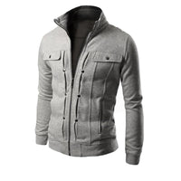 Men's Fashion Stand Collar Buttoned Sweater Jacket
