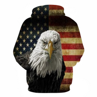 3D American Flag Eagle Printed Hooded Sweatshirts