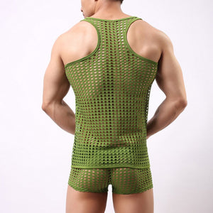 Fashion Men's Openwork Vest Sexy Men's Fun Vest