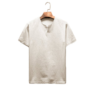 Men's Breathable Linen Cozy Tees Solid Color Casual T-Shirts