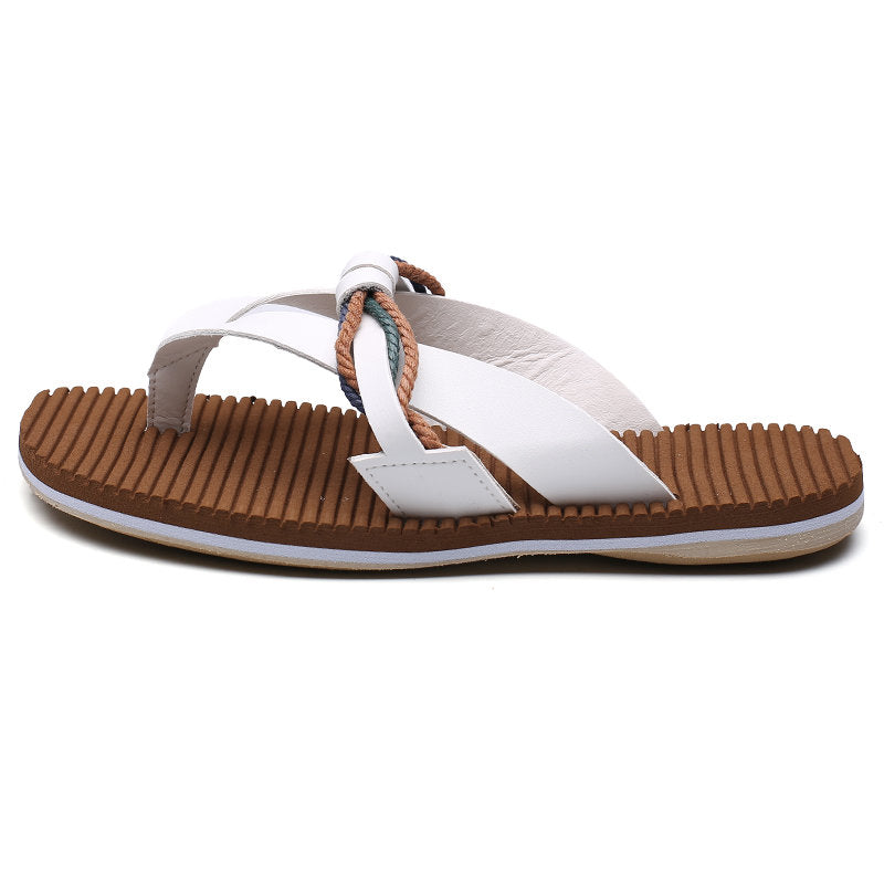 Men's Open Toe White Flat Heel Slippers
