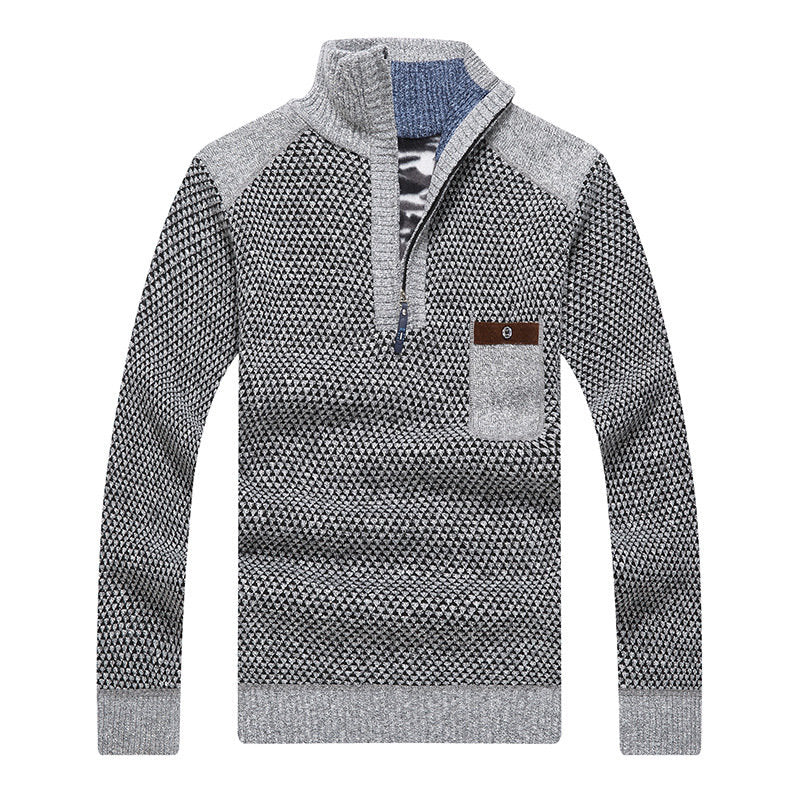 Men's Thicken Patchwork Half-Zipper Stand Collar Chest Pocket Knit Pullovers Sweater