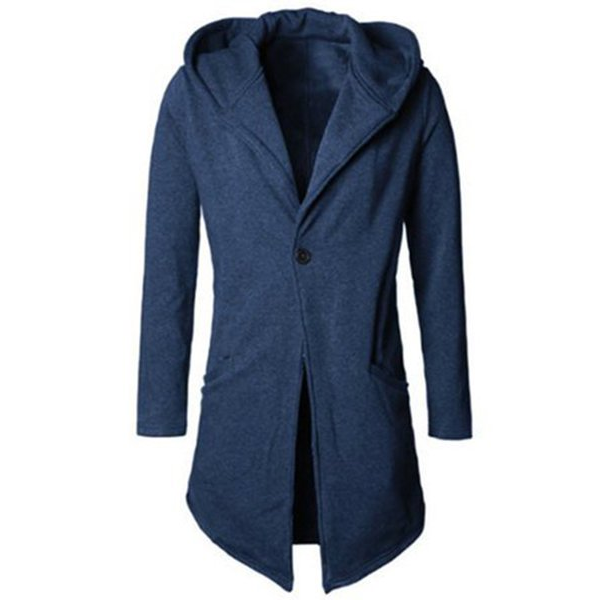 Men's Solid Color Long Style Hooded Cardigan