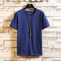 Large Sizes Ribbed Collar Casual T-shirts Men's Short-sleeved Solid Color Tees