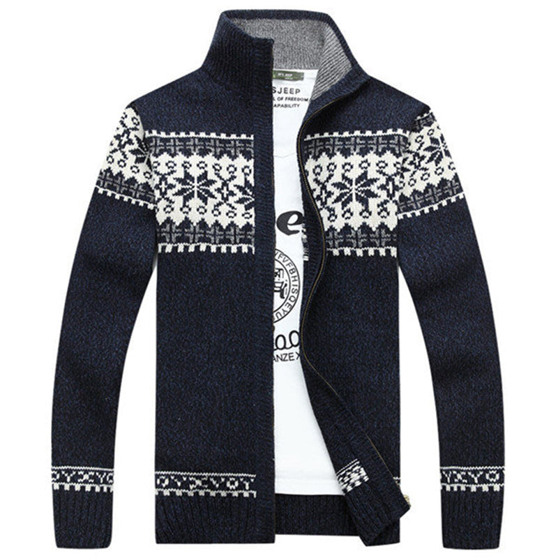 Men's Classic Printed Stand Collar Cardigan Sweaters