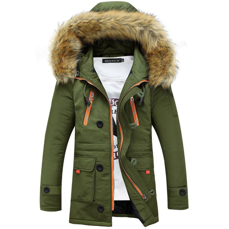 Men's Thick Hooded Fur Collar Long Cotton Outdoor Coats Jackets