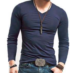 Men's Fashion Casual V-neck Long Sleeve T-Shirt