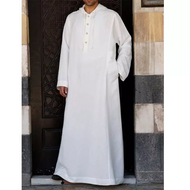 Men's Vintage Loose Robe Hooded Long Dress Long Kaftan Tops
