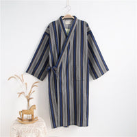Nightgown Cotton Gauze Kimono Pajamas Men's Bathrobe Thin Long Casual Sleepwear