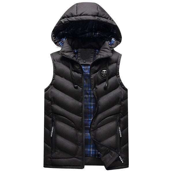 Men's Thicken Warm Pockets Detachable Hooded Vests