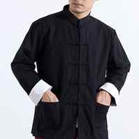 Chinese-style Modified Buckle Shirt Men'sLong-sleeved Casual Stand Collar Tops