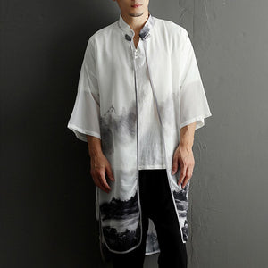 Chiffon Ink Painting Sun Protection Shirt Men's Thin Loose Casual Tops