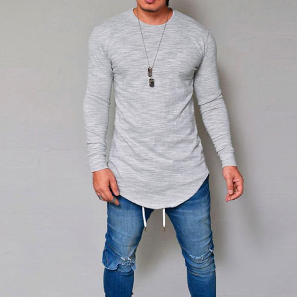 Men's Breathable Solid Irregular Hem Casual T-Shirt