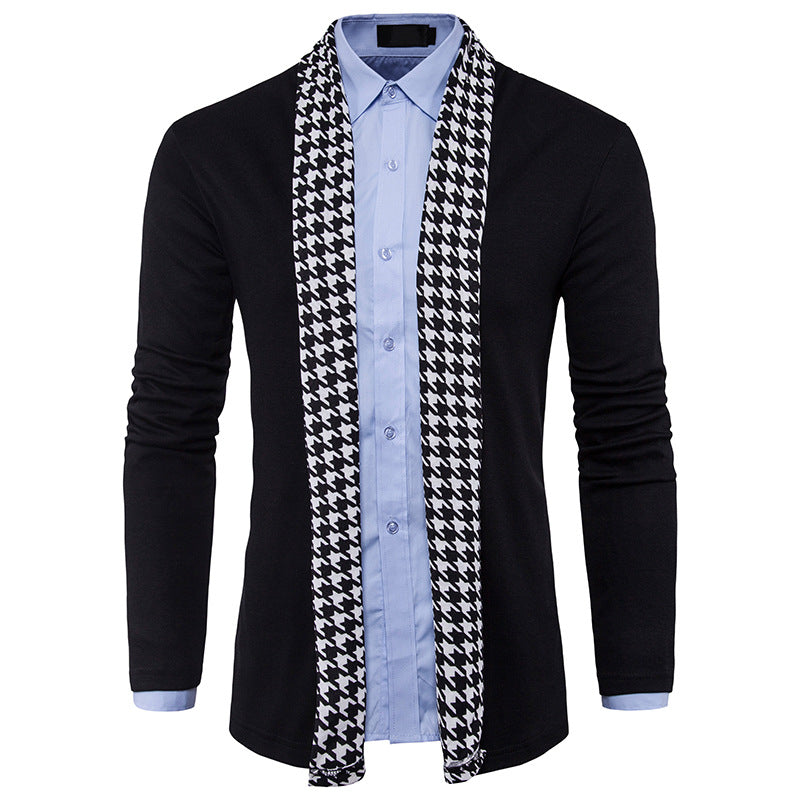 Houndstooth Long Knit Men's Cardigan Sweaters