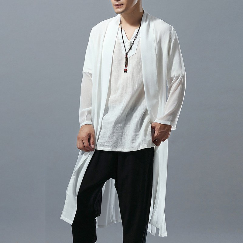 Chiffon Gown Ethnic Wind Men's Solid Color Thin Comfort Sun Protection Tops