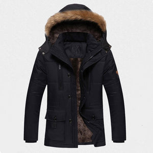 Outdoor Men's Cotton Long Warm Plus Velvet Padded Coats