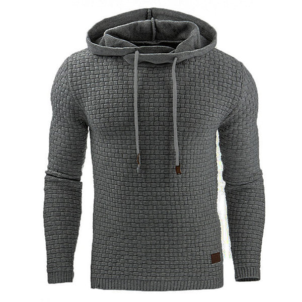 Men's Solid Color Jacquard Casual Sport Hoodies Tops