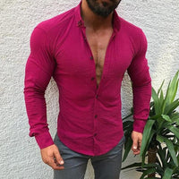 Men's Casual Long Sleeve Button Lapels Shirt