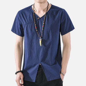 Men's Casual Cotton Linen T-shirts Loose Short Sleeve Retro Tops