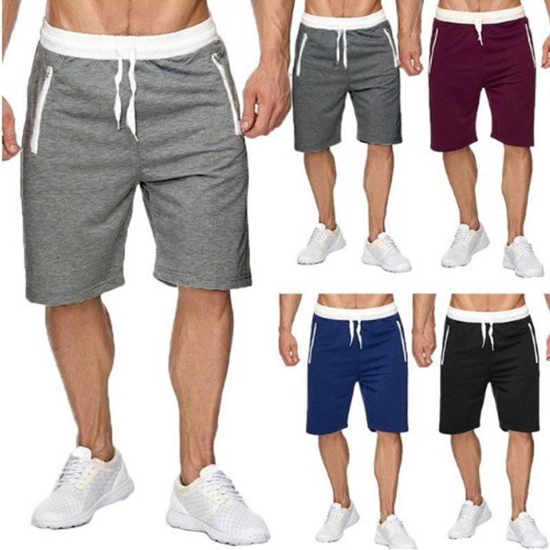 Men's Casual Cotton Solid Color Sports Shorts
