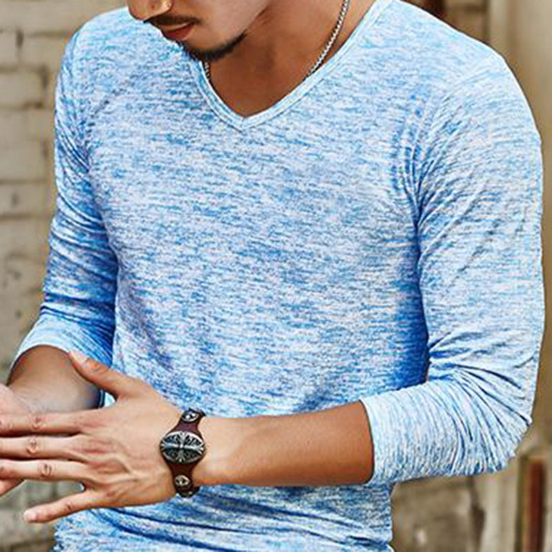Men's Casual Solid Slim Fit Long-Sleeved V-Neck T-Shirt