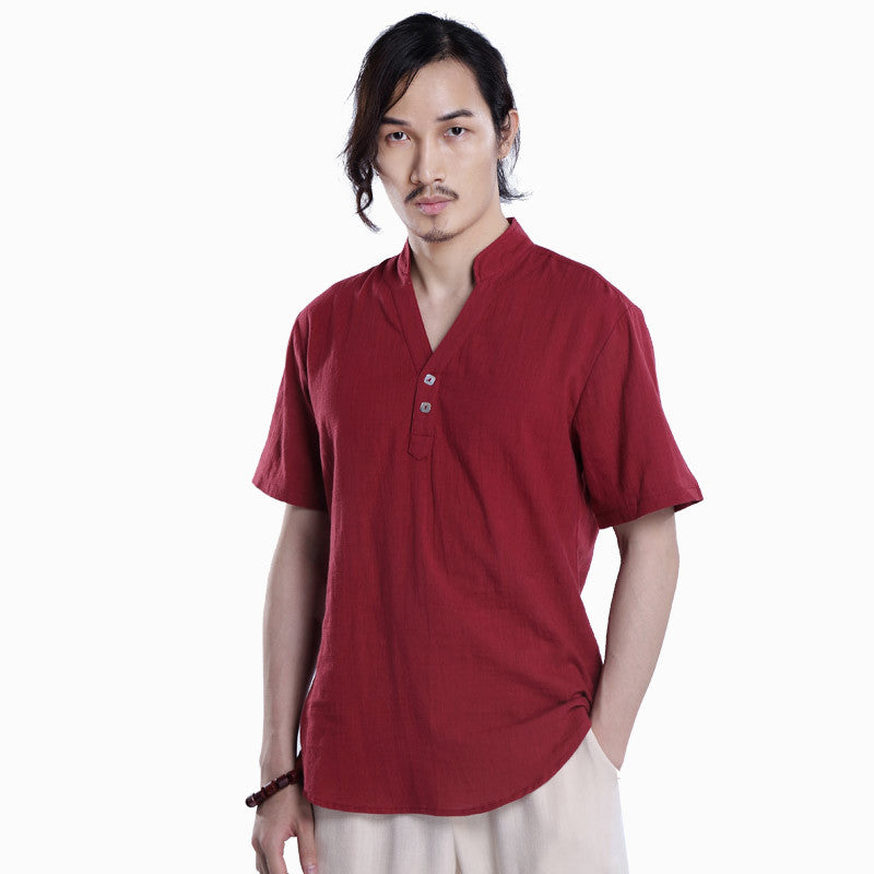 Chinese Style Men's Linen T-shirt Casual V-neck Short-sleeved Tops