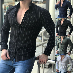Men's Striped Casual Slim Dress Shirts