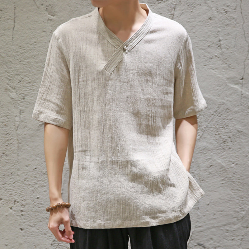 Chinese Style Men's V-neck T-shirt Large Size Casual Loose Solid Color Tops
