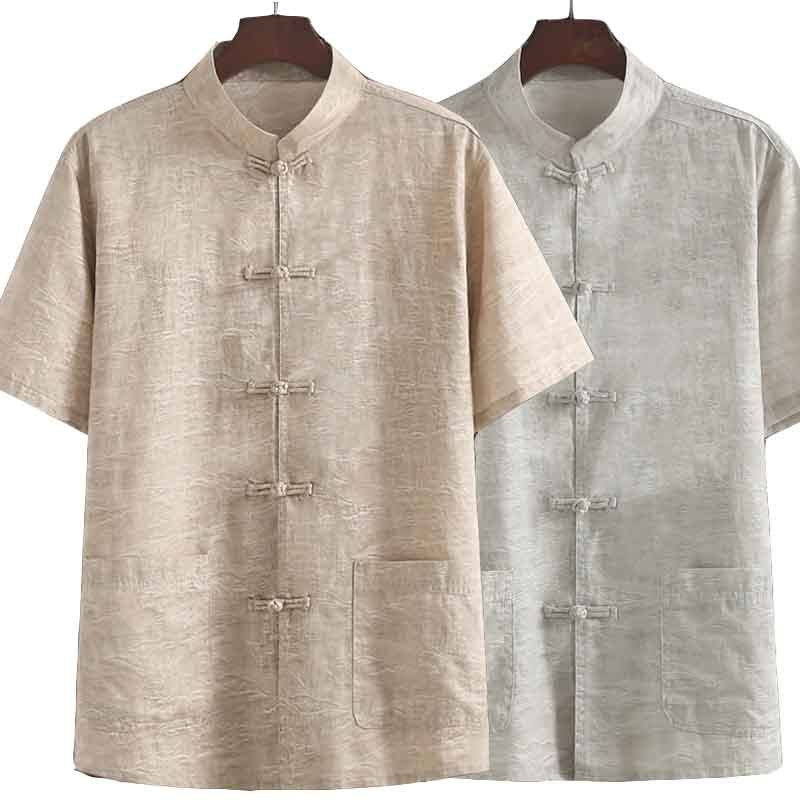 Linen Tang Suit Summer Men's Comfort Hanfu Short-sleeved Shirt
