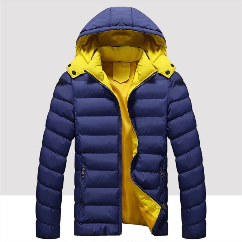 Men's Detachable Hat Glossy Warm Down Jacket