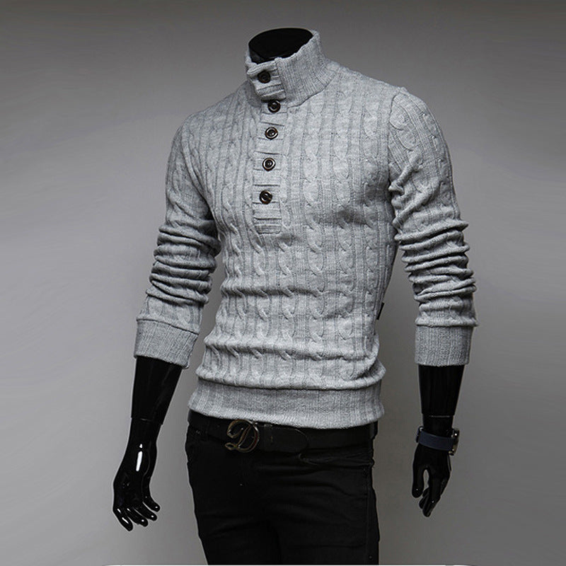 Men's Solid Slim Turtleneck Button Sweater Pullovers