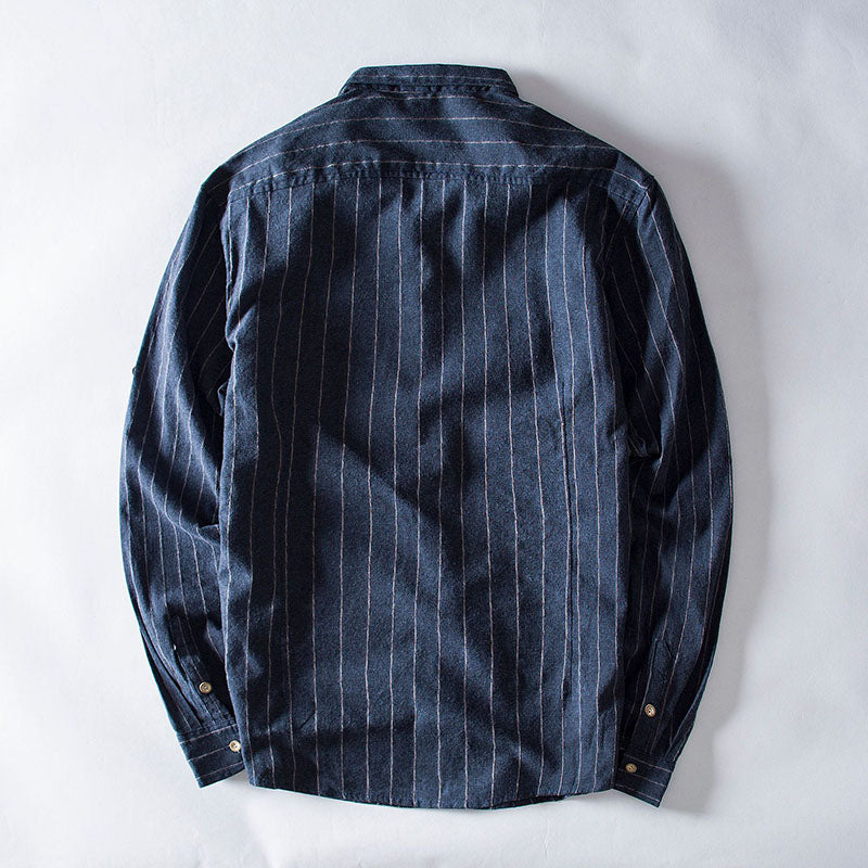 Men's Casual Striped Cotton Line Long Sleeve Shirt