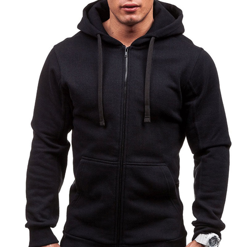Men's Solid Cotton Pocket Casual Hoodies