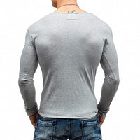Solid Color V-neck T-Shirt Men's  Casual Long Sleeve Tees