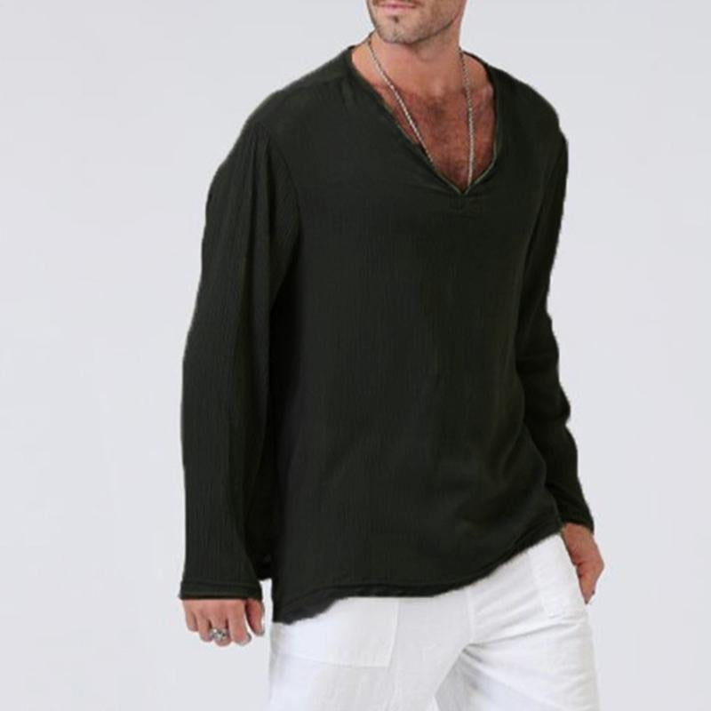 Men's Loose Linen Cotton V-neck T-shirt