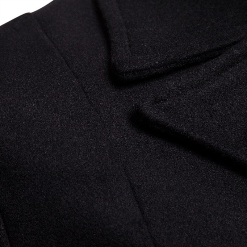 beincool Wool Woolen Long Men's Trench Coat