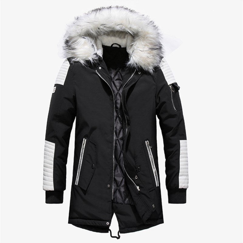 Large Fur Collar Men's Thicked Long Coat