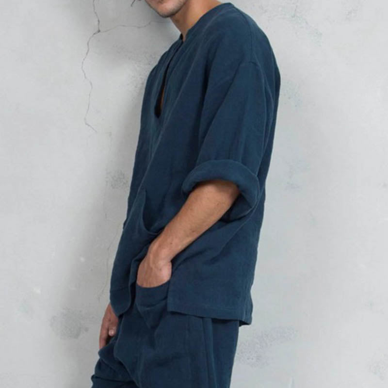 Men's Comfort Linen Bell Sleeve T-Shirts