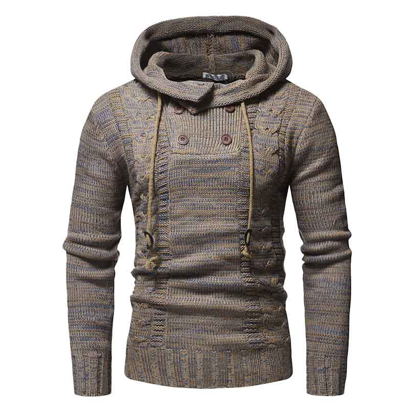 Colorblock Twist Double-breasted Hooded Slim Knit Men's Sweaters