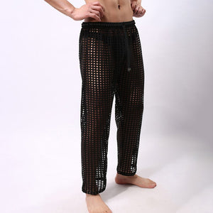 Fashion Men's Sexy Mesh Trousers Solid Colors Casual Fun Hollow Pants