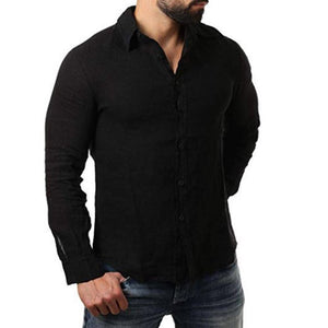 Casual Linen Cotton Shirts Men's Sollid Color Tops