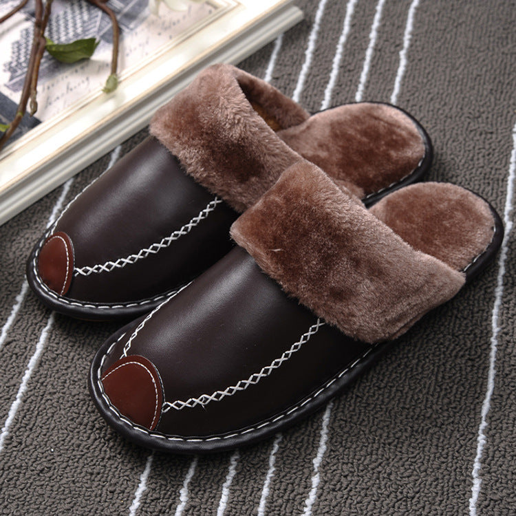 Winter PU Leather Waterproof Warm Slipper